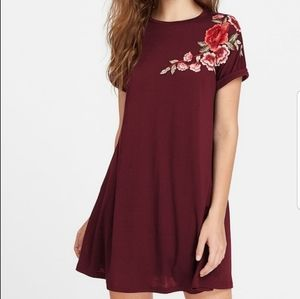 SHEIN Embroidered flower applique swing tee dress